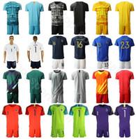 kit de fútbol amarillo negro al por mayor-Kits camisa Francia Portero Portero de fútbol GK 1 Hugo Lloris conjunto Jersey 16 Steve Mandanda 23 AREOLA Fútbol Uniforme Negro Amarillo Azul Blanco