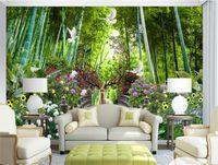 ingrosso 3d murale di bambù-Foto personalizzata 3D Wallpaper Murale Soggiorno Camera da letto Divano TV Sfondo murale Alce Pigeon Butterfly Bamboo Picture Wallpaper Sticker Home Decor