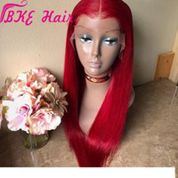 Wholesale celebrity wig for sale - Group buy Hand Tied Red Heat Resistant Straight Cosplay Celebrity Girl Wedding Party Synthetic Lace Front Synthetic wigs For women