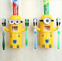 espremedor automático do distribuidor do dentífrico venda por atacado-Hot Dropshipping Minion Automático distribuidor de pasta de dentes Titular Escova de Dentes Produtos acessórios do banheiro Criativo Espremedor de Dentífrico