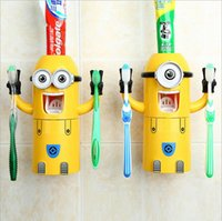 Wholesale automatic squeezer resale online - Hot Dropshipping Minion Automatic toothpaste dispenser Toothbrush Holder Products Creative bathroom accessories Toothpaste Squeezer
