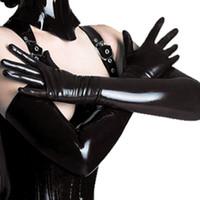 ingrosso guanti di costume in lattice-Guanti nero adulto sexy lungo lattice Clubwear sexy Catsuit signore Hip-pop Fetish Faux Leather Gloves Cosplay Costumi Accessori