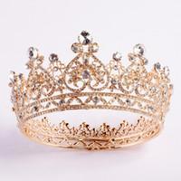 coroas de quinceañera venda por atacado-Cristais do ouro de luxo Coroas de casamento de prata strass Princesa Prom Party Queen nupcial Tiara Quinceanera Crown cabelo acessórios baratos