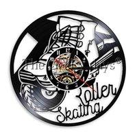 led beleuchtete wanduhr groihandel-Rollschuh Vinyl Record Wanduhr Sport LED-Licht Moderne Wand-Kunst-Time Clock handgemachtes Geschenk für Skate-Liebhaber