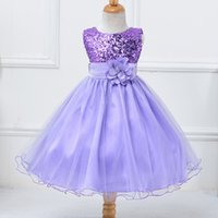 Wholesale white bridesmaid dress purple bow resale online - Performance Princess Flower Girl Dresses Birthday gift Children formal dress Sequin Sleeveless Bow Tulle Dress Kids Party Bridesmaid y