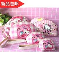 аниме-комплекты оптовых-IVYYE 3 Kits KT Cat Melody Fashion Anime Cosmetic Bags PU Zipper Travel Makeup Bag Storage Pouch Wash Toiletry Girls New