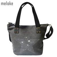 bolsos estrella al por mayor-Meloke 2019 Big Star Canvas Bag - Multifuncional con lentejuelas Travel Factory Outl Bandolera Diamantes Vintage Bolsos J190627