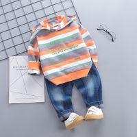 Wholesale infant denim pants resale online - Newborn Infant Baby Boy Girl Hooded Striped Sweatshirt Denim Pants Outfits Set roupas infantis menina W1010