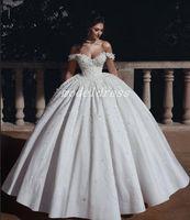 vestidos de novia de flores más el tamaño al por mayor-Vestidos de boda del vestido de bola de la princesa Arabric del hombro piso longitud flores perlas Iglesia Jardín vestido de novia más el tamaño 2019 vestido de novia