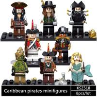 ingrosso bloccare i pirati giocattolo-KSZ518 8 pz / lotto pirati dei Caraibi, Capitano Jack, Mermaid Building Blocks Mattoni giocattoli per bambini regalo dei bambini