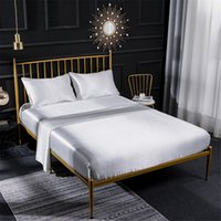 Wholesale king silk beds sheets resale online - White Silk Elastic Fitted Sheet Satin Fabric Pillowcase Bed Cover Set Solid Queen Size Bed Spread Sets Smooth Underwear Set