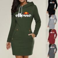 camisola com zíper com capuz feminino venda por atacado-201 Europa e América mulheres quentes carta impressão camisola com capuz zipper pullover na frete grátis vestido longo