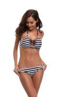 marineblauer badeanzug großhandel-Hot Sexy Bikini Navy Blue Bandage Frauen Strand Badebekleidung Mädchen Badeanzug