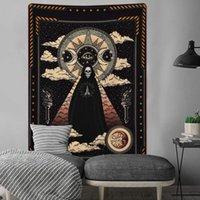 bild tuch großhandel-Sonne-Mond-Schädelkopf Bild Serie Tapisserie Wandbehang Schwarz Weiß Hippie Thin Wall Cloth Tapestry Decke Polyester Bedspread Tischdecke