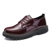 мужская мода лодыжки обувь оптовых-Patent Leather Men's Ankle  Shoes Autumn Winter Fashion Men  Sneakers Low top High Quality Male Leather Oxfords