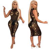 xxl sexy black party dress achat en gros de-Robe moulante noire avec diamants scintillants Sheer Mesh Col roulé sans manches shinging Perspective slim sexy robes de soirée club LJJA2561
