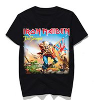 do vintage do grupo de rock t-shirt venda por atacado-Banda Iron Maiden Música T-shirt dos homens do metal pesado da rocha camiseta Tops Vintage Punk Streetwear Moda Tees 2020Fashion rock t-shirt