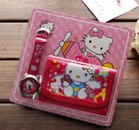 kitty brieftaschen großhandel-Großhandelslos-hallo Miezekatze-Kind-Kind-Jungen-Mädchen-Uhr-Geldbeutel-Mappen-gesetztes Geschenk Freies Verschiffen T018