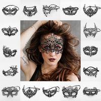 media máscara de navidad al por mayor-Mujeres Máscaras de fiesta venecianas Moda Negro Metal XMAS Vestido Disfraz Muestra Boda Mascarada Máscara de media cara Juguete TTA1593