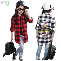 Wholesale white school girl shirt for sale - Group buy Spring fashion girls plaid shirts red white school girl blouse long section shirts for girls long sleeve blouse designs