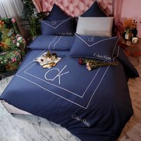 Wholesale embroidered bedding designs online - 5 Color Embroidery Letter Bedding Boutique Luxury Design European style Quilt Cover Suit Pure Color Simple Bed Sheet Suit