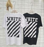 camisa casual de rayas negras al por mayor-Nuevos Hombres Mujeres Camisetas Moda Manga Corta Off Camisetas Algodón Raya Polos de Impresión Negro Blanco 2 Colores Casual Camisas de Alta Calidad