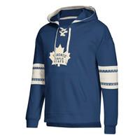 string xxxl venda por atacado-Toronto hoodies designer Maple Leafs Jersey Lace-Up Pullover Hoodie Azul Mens Com Splicing Draw string Mangas cheias Mangas costuradas marca Logotipos