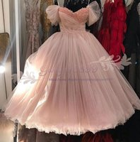 Wholesale girls size jacket for sale - Group buy 2019 blush A line sweetheart Prom Dresses Beaded crystal sleeveless Tulle cap sleeves Tiered Skirt cheap evening gowns sweet girl dress