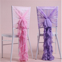 sandalye mazareti toptan satış-Ins Hottest Sandalye Sashes Şifon Düğün Sandalye Kapak Romantik Ruffles Gelin Parti Ziyafet Sandalye Geri Düğün süslemeleri Malzemeleri Şekerleri