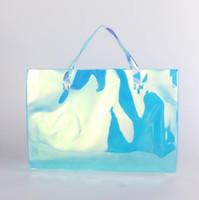 ingrosso negozio laser-Sacchetto della spesa del PVC del PVC Sacchetto di plastica trasparente della borsa variopinta di imballaggio della borsa Borse dei bambini di Shouder GGA2381