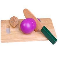 corte de cuchillo de fruta libre al por mayor-Envío gratis Boutique De madera de simulación de juguete de los niños Cuchillo Casa corte frutas vegetales Utilidad Cuchillo Tabla de cortar 2-6 años de edad