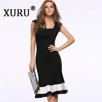 ingrosso abito casual nero fishtail-XURU estate nuovo vestito femminile sexy vita sottile sottile abito senza maniche color fishtail casual nero