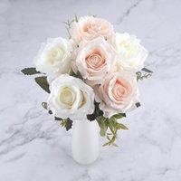 dekorasyon için büyük yapay çiçekler toptan satış-Ev Dekorasyonu Sonbahar için Düğün Dekorasyon Kış Sahte Big Çiçekler Red için 6 Başkanları White Rose Yapay Çiçekler İpek Yüksek Kalite