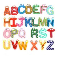 Wholesale kids crafts home for sale - Group buy Magnet Education Learning Toys Wooden Alphabet Letters Decor Cartoon Words Wood Crafts Home Refrigerator Decorations Kids Children Gifts