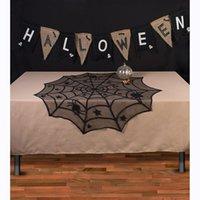 ingrosso pizzo web-Lace Mantle 40inch rotonda 1Pcs Halloween tovaglia di pizzo nero Spider Web per la decorazione della festa di Halloween Decorazione Sfondo