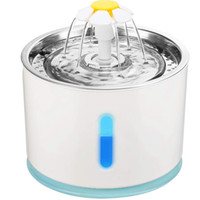 Wholesale cat water fountain for sale - Group buy Stainless Lip Automatic Electric L Pet Water Fountain Dog Cat Drinking Bowl with LED Ligtht