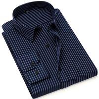 gestreifte formale hose groihandel-Trainingshose Herbst Neue Gestreifte Herren Businesshemd Formal Fashion Langarm Marke Business Herren Freizeithemd Regular Fit Plus Size
