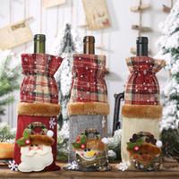 ingrosso bambole di pupazzo di neve di natale-Babbo Natale Borse bottiglia di vino con coulisse Plaid Doll Santa Snowman bottiglia di vino Copertura regalo di Natale della decorazione del sacchetto HHA806