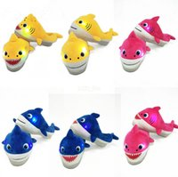 Wholesale music leather resale online - 22CM Adult Baby Shark Led Plush Shoes Slippers with music Cartoon Sweet Warm Unisex Slippers Slip On Household Hoom Shoes LJJA2684