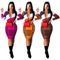 halbe strumpfhosen frauen großhandel-Frauen Langarm Reißverschluss Kleid F Brief Gedruckt Half Zip Mid Lange Kleider Gestreiften Party Club Rock Bodycon Enge Röcke Dünne Tragen A41702