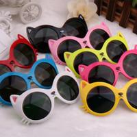 óculos escuros protetor uv venda por atacado-Novos miúdos gato óculos de sol dos miúdos dos desenhos animados em volta do olho de gato óculos de proteção UV óculos de sol para crianças