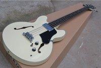 335 beyaz toptan satış-335 Yarı içi boş Çift F delikli Dört dize Elektrik Bas Süt Beyaz Gövde Siyah Koruyucu Gülağacı, ücretsiz kargo