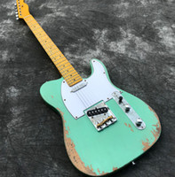 Wholesale guitar neck part resale online - Heavy Relic Electric guitar with Body Handwork Guitars in Green Color Maple Neck Fretbaord Aged Guitar parts