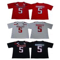 jerseys de futebol frete grátis venda por atacado-Homens NCAA Texas Tecnologia Red Raiders Jersey 5 Patrick Mahomes Colégio Camisas de Futebol de Alta Qualidade EM ESTOQUE Frete Grátis