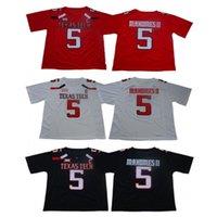 футбольные майки бесплатная доставка оптовых-Мужчины NCAA Texas Tech Red Raiders Джерси 5 Футболки Колледжа Патрика Магомеса Высшего Качества НА СКЛАДЕ