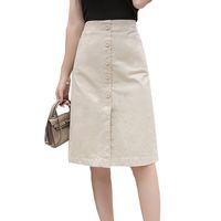 beyaz yüksek bel kalem eteği toptan satış-Faldas Mujer Moda 2019 Yaz Diz Boyu Kalem Etekler Kadın Düğme Yüksek Bel Siyah Beyaz Bölünmüş Vintage Okul Etek