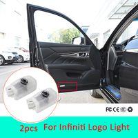emblèmes led achat en gros de-2pcs Led lumière de porte de voiture pour Infiniti q50 q60 q70l qx70 qx80 FX G M EX Logo Projecteur Laser logo emblème Accessoires