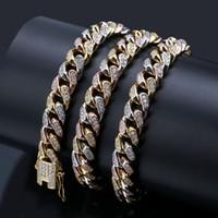 conjunto completo de joyas al por mayor-Cadenas heladas Caderas de joyería hip hop Collar de diamantes completo Cúbico Circonia Juego de cobre con diamantes 18 k chapado en oro Cadena cuba 3 color