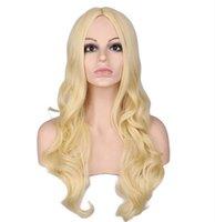 ingrosso parrucca lunga rosa chiara-Parrucca piena ondulata lunga delle donne Cosplay Nero Rosso Rosa Biondo Marrone chiaro Parrucche sintetiche resistenti al calore marrone scuro