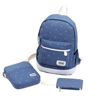 okul çantası çantası toptan satış-3 Adet Set Taze Tuval Kadın Sırt Çantası Büyük Kız Öğrenci Kitap Çanta çanta Laptop Çantası ile Yüksek Kalite Bayanlar Gençler için Okul Çantası